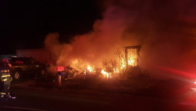 Five dogs died when a mobile home in Manchester caught fire, rendering it uninhabitable.