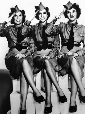 The Andrews Sisters are shown in the 1940s.