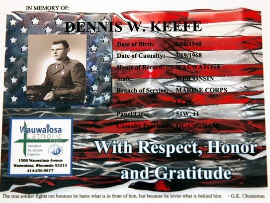 This memorial of Dennis W. Keefe, a Marine killed in