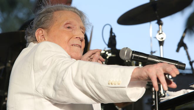 Apr 28, 2017; Indio, CA, USA; Jerry Lee Lewis performs during the Stagecoach Country Music Festival at Empire Polo Club. Mandatory Credit: Jay Calderon/The Desert Sun via USA TODAY NETWORK