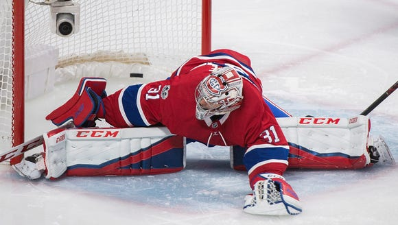 Montreal Canadiens goaltender Carey Price gives up