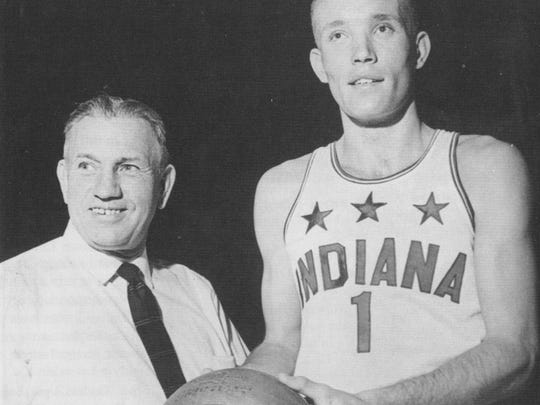 Rick Mount was Indiana Mr. Basketball in 1966. He posed with All Star coach Cleon Reynolds that year.
