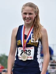 Greencastle-Antrim's Taryn Parks stands on the podium