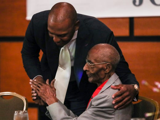 June 20, 2018 -  Penny Hardaway embraces Jerry Johnson