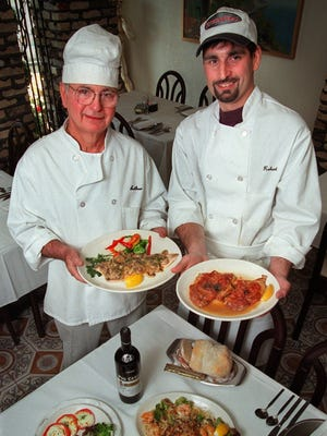 Arthur Maniaci (left) died June 9 at age 88. He is pictured here with his son Robert at Maniaci's Cafe Siciliano, which Arthur owned for 24 years.