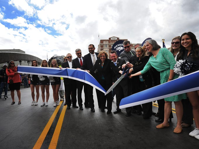 The ribbon is cut during the opening ceremony for the
