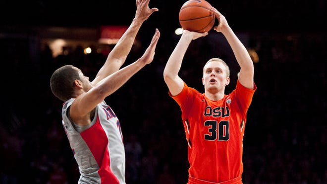 Oregon State forward Olaf Schaftenaar, pictured in a game at Arizona on Jan. 30, made a career-high five 3-pointers in the Beavers' last game, an 86-82 victory at UCLA.