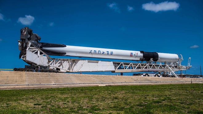 The first Block 5 Falcon 9 booster rolls out to Kennedy Space Center's pad 39A on Thursday, May 3, 2018.