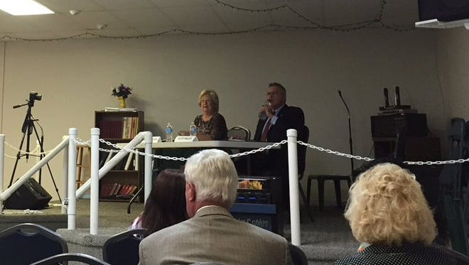 Sue Ann Childers and Ralph Phillips attended a candidates forum Thursday night.