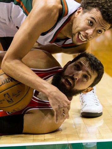 Chicago Bulls forward Nikola Mirotic and Milwaukee