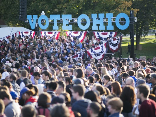 People wait for Hillary Clinton to arrive at Ohio State