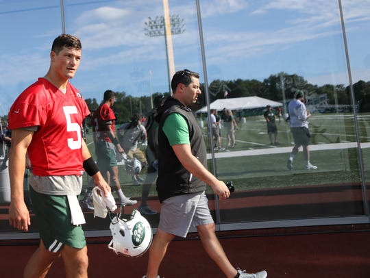 Christian Hackenberg (#5) is shown after practice,
