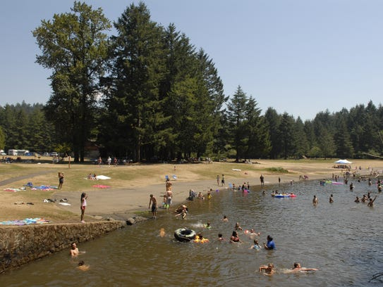 The main swimming area at Silver Falls State Park gets