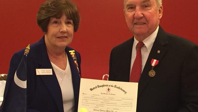UDC Chapter President  Judy Allen and award recipient Dennis K. Allen