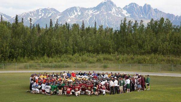 High school football camp in Alaska run by first-year AD Leonard Doerfler,