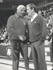 Competing coaches Pete Bell (Nick Nolte, right ) and