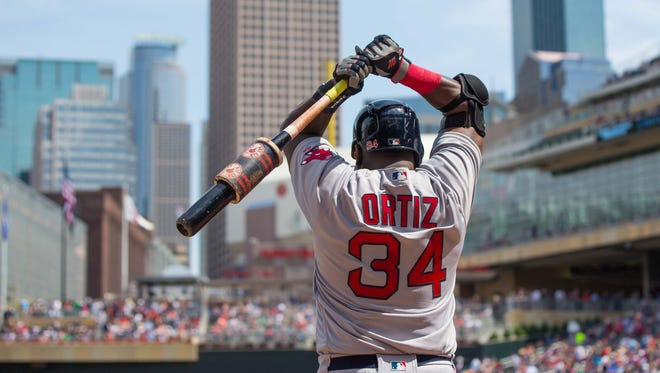 Jun 12, 2016; Minneapolis, MN, USA; Boston Red Sox designated hitter David Ortiz (34) in the on deck circle in the seventh inning against the Minnesota Twins at Target Field. Mandatory Credit: Brad Rempel-USA TODAY Sports