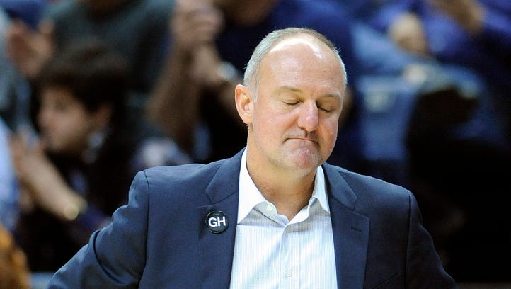 Ohio State men's basketball head coach Thad Matta reacts during his team's 75-55 loss to Connecticut earlier this season. Matta lost four freshmen to transfer from a class rated as top five in the nation this year.