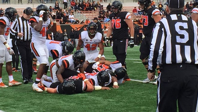 Oregon State's spring game didn't draw much fan support at Reser Stadium on April 28, 2018.