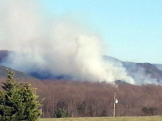 View of the Cellar Mountain fire at 5 p.m. Friday from