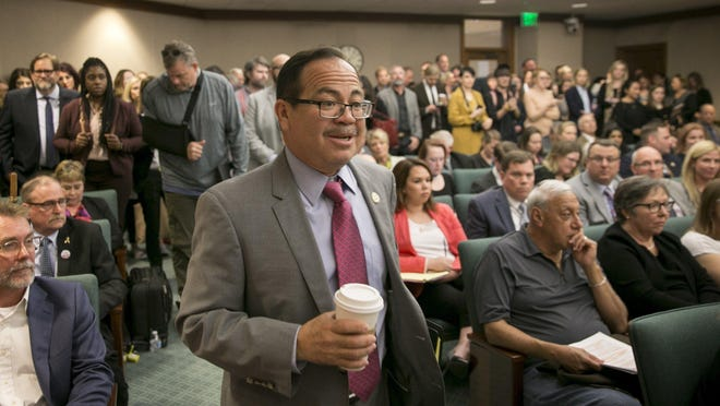 State Rep. Art Fierro, D-El Paso, seen here at an April 2019 House committee hearing, has filed legislation to make the day after the Super Bowl a state holiday.