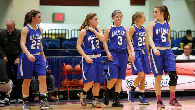 Haldane defeats Hamilton 48-34 in the class C semi-final basketball game at the Westchester County Center in White Plains on Saturday, February 27, 2016.
