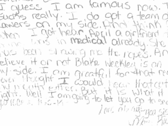 A portion of a letter written from Mary Rice. More letters can be found at the bottom of the story.