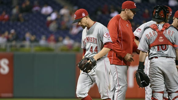 Mike Leake left Wednesday's game in the ninth inning,