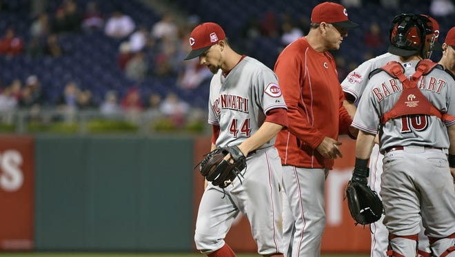 Mike Leake left Wednesday's game in the ninth inning, having allowed just three hits to the Phillies.