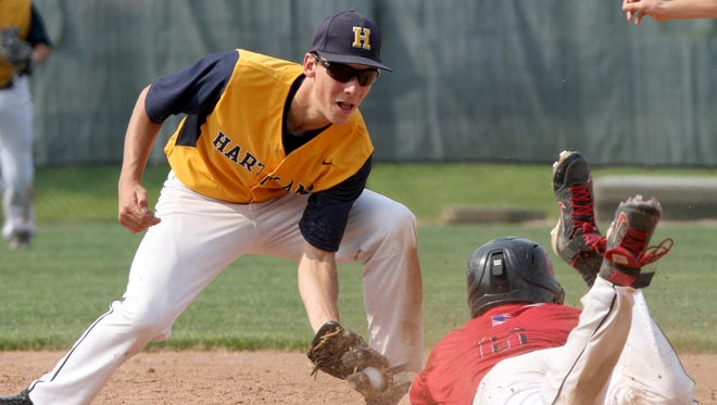 Hartland's Hunter Delanoy went 1-for-3 with three runs scored and a stolen base in Hartland's win over Walled Lake Northern.