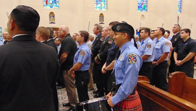 Firefighters attended a special Mass dedicated to them Thursday, May 4, 2017.