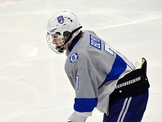 Ready to spring back into action during a recent game is Salem senior defenseman Ryan Boyd.
