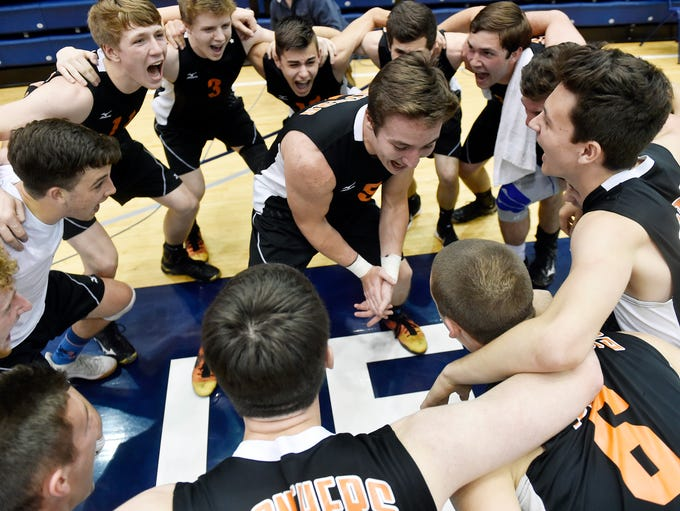 Central York's Drew Anderson leads the boys' volleyball