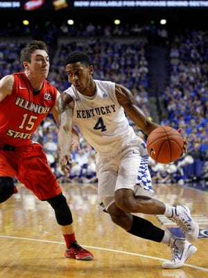 Nov 30, 2015; Lexington, KY, USA; Kentucky Wildcats guard Charles Matthews (4) dribbles the ball against Illinois State Redbirds guard Justin McCloud (15) in the first half at Rupp Arena. Mandatory Credit: Mark Zerof-USA TODAY Sports