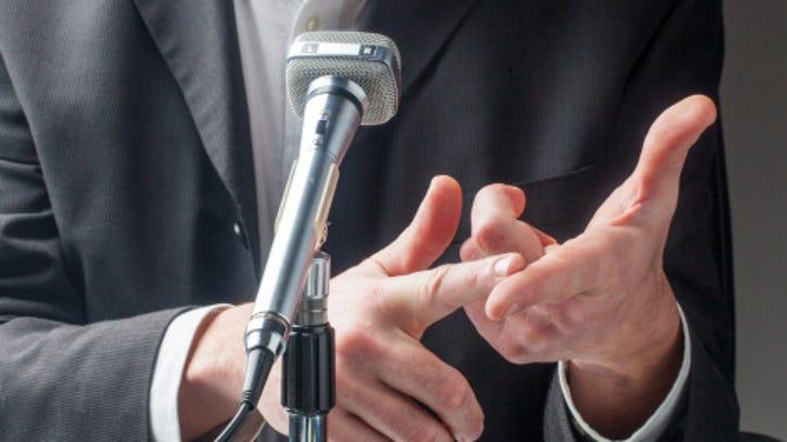 male politician talk in public