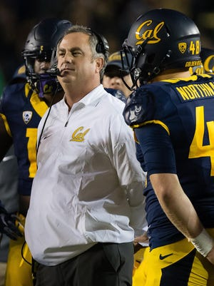California Golden Bears head coach Sonny Dykes on the sideline against the Washington Huskies during the first quarter at Memorial Stadium.