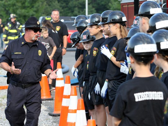 Ex-Chief Matt Ambrosio of the Waretown Fire Dept. speaks to the junior recruits.