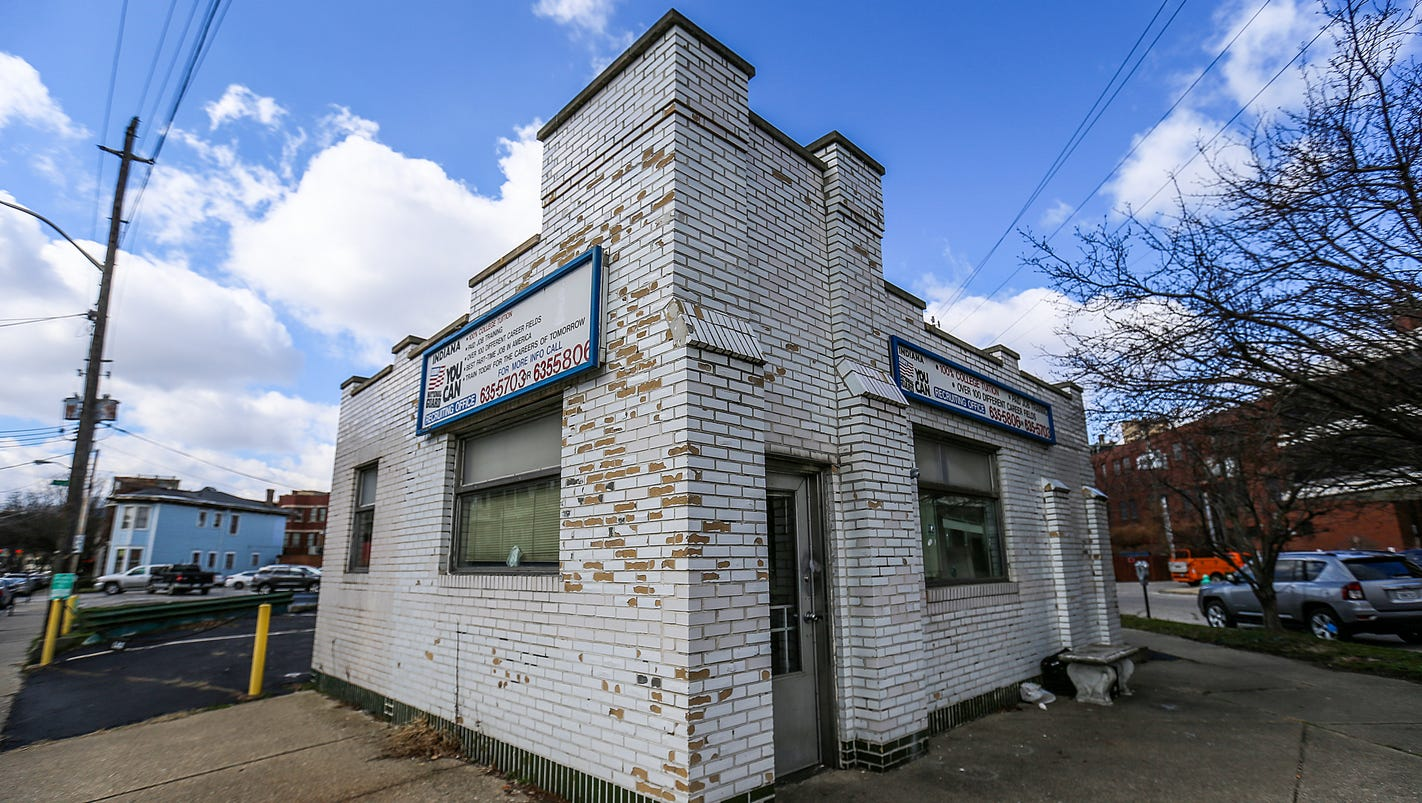 vintage white castle building  downtown indianapolis