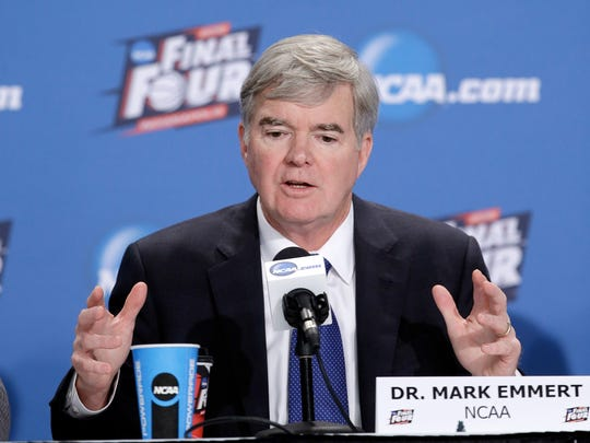 NCAA president Mark Emmert answers questions during a news conference April 2, 2015, in Indianapolis.