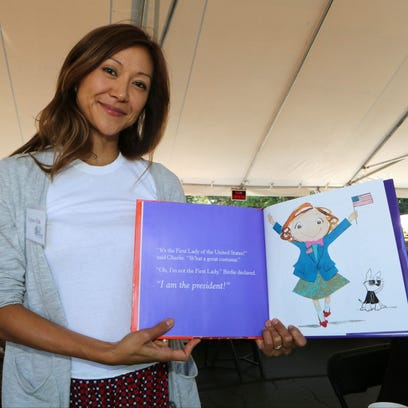 Children's book author Sujean Rim from Chappaqua shows