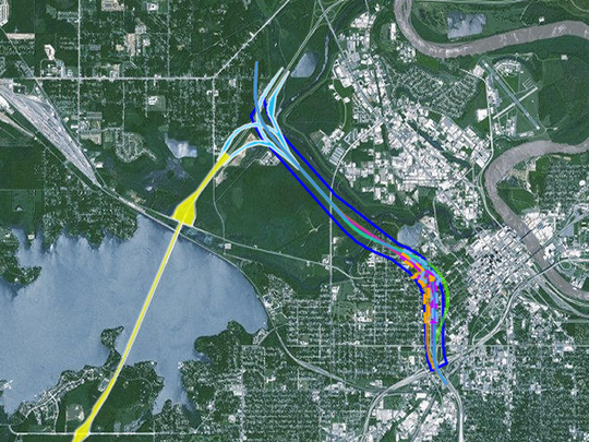 The proposed routes for the I-49 connector project,