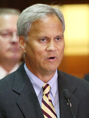 State Sen. Jim Merritt speaks during a news conference Aug. 2, 2016, at the Indiana Statehouse.