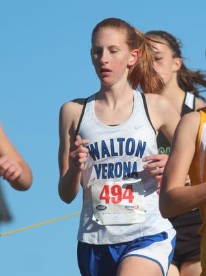 Walton-Verona's Madison Lohr finished third at the Covington Catholic Invitational despite slipping at the beginning of the race.