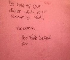 Note from fellow diners