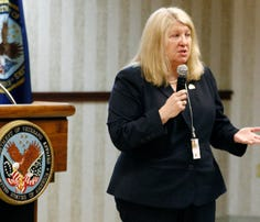 Skye McDougall a Veterans Affairs official, speaks at a Town Hall meeting at the G.V. (Sonny) Montgomery VA Medical Center in Jackson, Miss., on Feb. 5. Department of Veterans Affairs Secretary Robert McDonald says he stands by his appointment of McDougall.