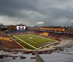 Aug 22, 2015; Minneapolis, MN, USA; TCF Bank Stadium sits empty as severe weather drives the Oakland Raiders and Minnesota Vikings and fans indoors prior to the game. Mandatory Credit: Bruce Kluckhohn-USA TODAY Sports