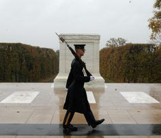 Marine Corps veteran Toran Gaal plans to end his two-month trip from Julian, California, to Arlington, Virginia, by placing a wreath at the Tomb of the Unknown Soldier, shown here at at Arlington National Cemetery.