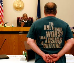 A veteran stands before a judge in the country's first Veterans Treatment Court in Buffalo, N.Y., in this file photo from 2008.