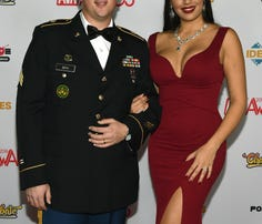 Sgt. Anthony Berg and Mercedes Carrera pose on the red carpet before the 2016 Adult Video News Awards at the Hard Rock Hotel & Casino on Jan. 23 in Las Vegas.