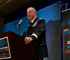 LTG Alan Lynn, Director of the Defense Information Systems Agency and Commander of the Joint Force Headquarters- Department of Defense Information Networks, delivers a keynote address at CyberCon 2015 Conference at the Ritz-Carlton Pentagon City in Arlington, Va., on Wed., Nov. 18, 2015.